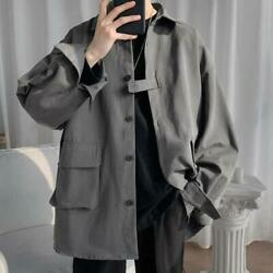 Menand039s Spring New Fashion Long Sleeve Loose Thin Jacket Youth Casual Coats