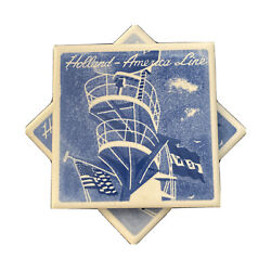 2 Holland America Line Cruise Ship Tiles Cork Back Coasters Delft Blue And White