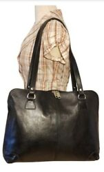 ITALIAN BLACK TOTE PURSE SHOULDER HAND BAG BY LEATHER HOUSE $74.99