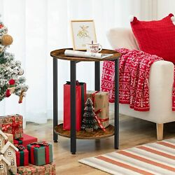 Hoobro Round Side Table Sofa Couch Table With Storage Shelf 2-layer End Table