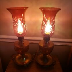 Vintage Pair Of Cranberry Etched Floral Lamps 17 Tall Brass Base