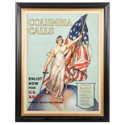 Original 1916 Wwi Columbia Calls Enlist Now For Us Army Poster By V. Aderente