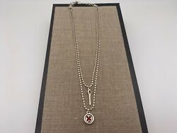 New Uno De 50 Lady In Red Button Silver Double Necklace