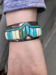 Hopi Native American Bracelet Signed Snow Horse Rare With Turquoise
