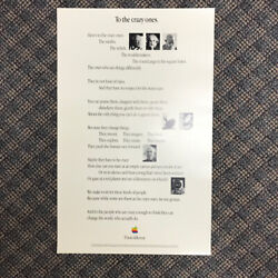 To The Crazy Ones Super Rare Version Of Think Different Poster Apple Computer