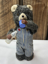 Vintage Toy Thirsty Bear Japan Alps Wind Up Mechanical Drinking