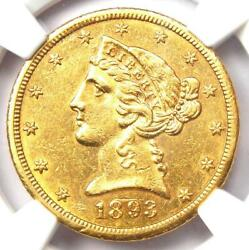 1893-cc Liberty Gold Half Eagle 5 Coin - Ngc Uncirculated Details Unc Ms