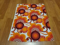 Awesome Rare Vintage Mid Century Retro 70s Org Red Sun Floral Terry Cloth Fabric