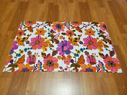 Awesome Rare Vintage Mid Century Retro 70s 60s Hot Pink Floral Bright Fabric