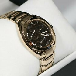 Citizen Eco Drive Womenand039s Rose Gold Tone Brown Dial Watch Fb1395-50w