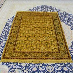 Yilong 4'x6' Gold Luxury Hand Knotted Silk Rugs Antique Living Room Carpet 069b
