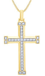 1/2 Ct White Natural Diamond Cross Pendant Necklace In 10k Yellow Gold
