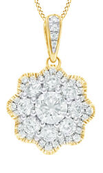 1.00 Ct White Natural Diamond Flower Frame Pendant Necklace In 10k Yellow Gold