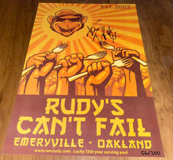 Mike Dirnt Signed Poster Rudy's Can't Fail 56/300 Green Day