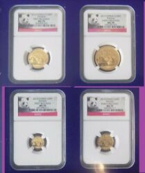 2013 China Pure Gold Panda 4 Coins Set Ngc Ms 70 First Release Panda Label