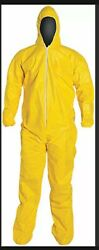 2pc Dupont Tychem Tyvek Qc127s Yellow Coverall Chemical Hazmat Suit 2 Pc Size Lg
