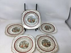 Royal China 22k Set Of 5 Bread And Butter Plates Colonial Couple Courting Square