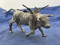 Large Mexico Sterling Silver 925 Bull Toothpick Holder W 5 Swords 288g Tw Z548
