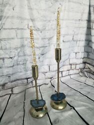 Vintage Brass/stone Candle Sticks W/ Vintage Lucite Candles