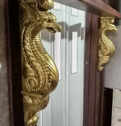Large Dragon Corbel Antique Gold Paint Wooden Corbel Fireplace Surround