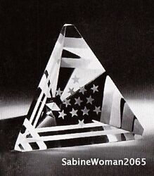 New In Box Ltd Ed Steuben Stars Stripes Usa Commemorative Paperweight Flag Art