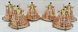 Nautical Vintage Style Brass And Copper Hanging Cargo Pendant Light 6 Piece