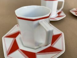 Daniel Hechter Pinwheel Red Deco Style Coffee Cups And Saucers