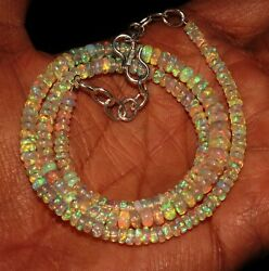 Natural Genuine Ethiopian Fire Opal Bead Necklace 3to5mm16+1.5adjustable Chain