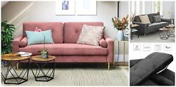 Classic Velvet Sofa Small Space Solid Wood Frame Metal Legs Padded Seat Cushions