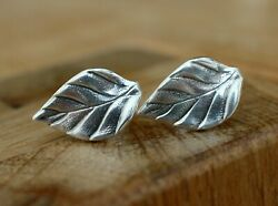 Vintage Leaf Form Earrings Soviet Russian Silver Ag 916 Star Hammer And Sickle