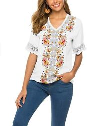 Summer V Neck Boho Embroidery Mexican Peasant Bohemian Casual Tops Floral Embroi