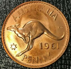 Proof 1961 P Melbourne Australia One Penny 1 D Coin-strong Detailing-jun3505
