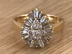 Superb Vintage 18ct Gold 1.5ct Diamond Pear Shaped Cluster Cocktail Ring And Box