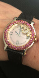 Chopard Happy Sport 18k Rose Gold And Ss Ladies Watch W/ Factory Diamonds And Rubies