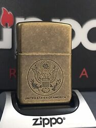 Zippo Lighter U.s. Seal Antique Brass Plate 1995 Very Rare And Collectible