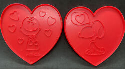 Vtg Snoopy Charlie Valentine Cookie Cutters Hearts Peanuts Valentines Crafts Lot