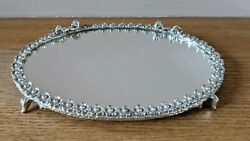 Vintage Vanity Mirror Tray Gold Tone Oval Floral Footed Ladies Laying Down
