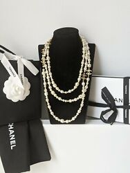 Authentic Cc Long Pearl Necklace Dustbag Box