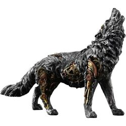 Mechanical Wolf Statue Figurine Howling Wolves Wildlife Animal Large Sculpture