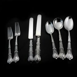 And Co Sterling Silver Cutlery Set Of 7 Pieces In A Florentine Pattern