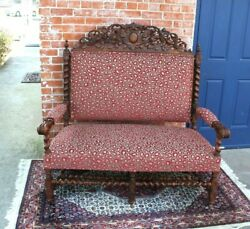 French Antique Upholstered Carved Oak Louis Xiii Setee Chair / Love Seat C.1880s