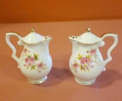 Vintage Salt And Pepper Shakers Occupied Japan Tiny Teapots Gold Trim. Clean