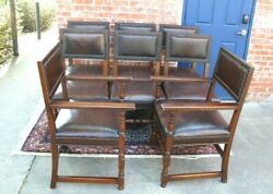 Set Of 8 French Antique Oak Louis Xiv Leather Upholstered Dining Chairs