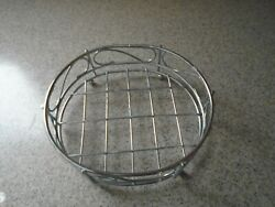 Oval Plated Silver Tray On Feet Bottom Has Slats 6-3/4x7-1/2 Used