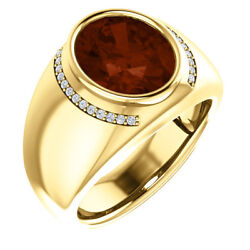 Mens Ring Genuine Mozambique Garnet And 1/8 Ctw Diamonds In 14k. Solid Yellow Gold