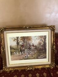 George Wright The Pink Of Condition Frame Art Work, Fox Hunt Rare 29x35