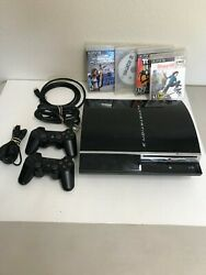 Playstation 3 Cbeh1000 80gb Backwards Compatible W 2 Controllers 4 Games Ps3