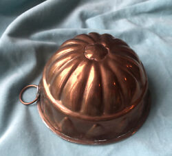Antique French Copper Tin Lined Mould Mold Pudding Cake Baking Cooking Aspec
