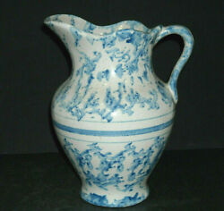 Look, Look Again Sm Rare Blue And White Spongeware Hot Water Pitcher Stoneware