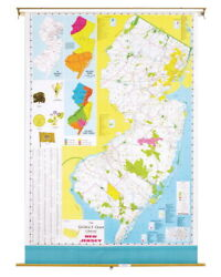 Nystrom New Jersey Pull Down Roller Classroom Map, 51 X 68 Inches